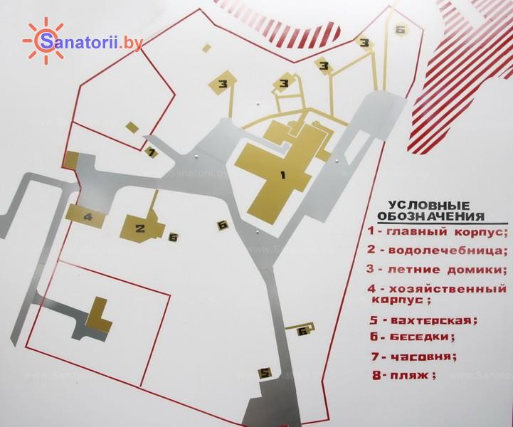 Санаторыі Беларусі - санаторый Пад'ельнiкi - Схема распалажэння аб'екта