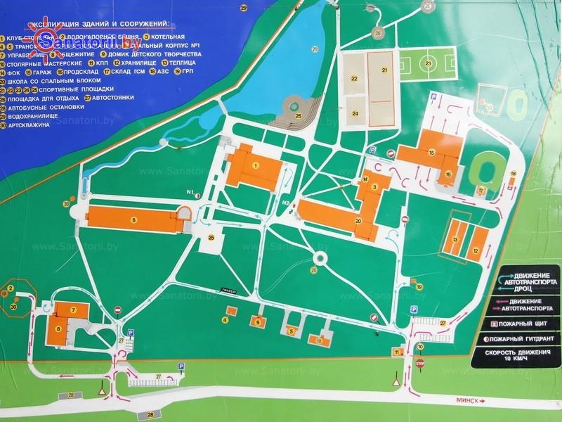 Санатории Белоруссии Беларуси - ДРОЦ Ждановичи - Схема расположения объекта