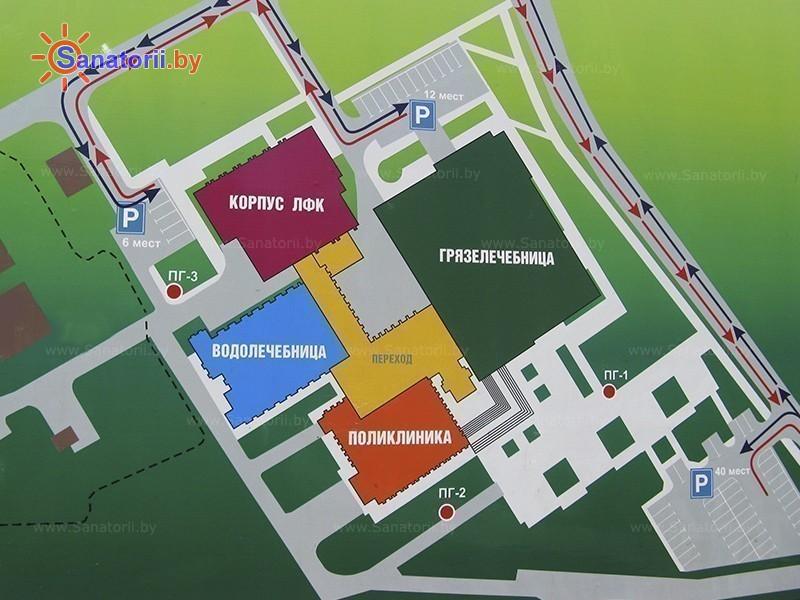 Санатории Белоруссии Беларуси -  Центр медицинской реабилитации и бальнеолечения - Схема расположения объекта